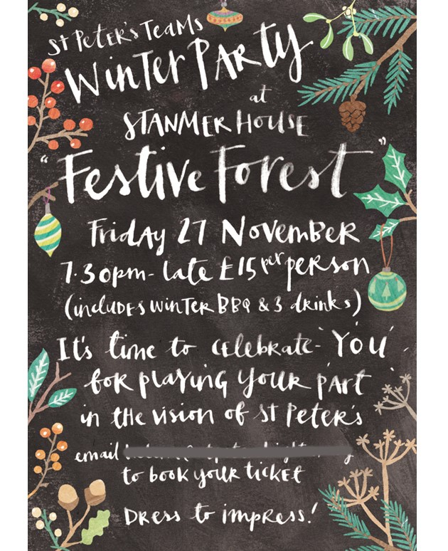 Antonia Woodward flyer for St Peter's Brighton Festive Forest event